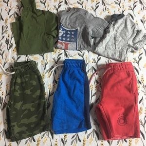 Bundle lot of 6 boys XS shorts and tops